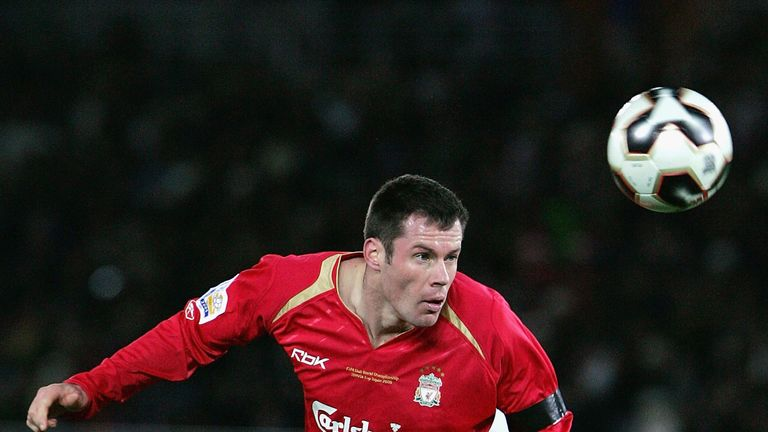 Carragher in action during the 2005 Club World Cup final against Sao Paulo
