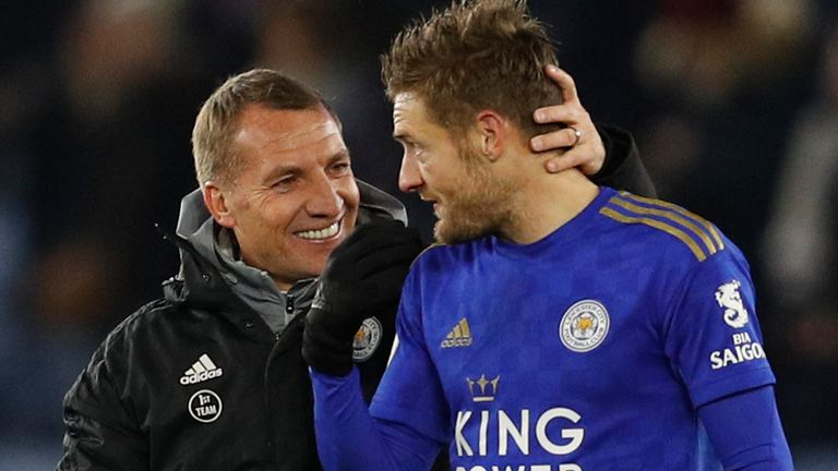 Brendan Rodgers and Jamie Vardy were all smiles after Leicester's last-gasp win over Everton