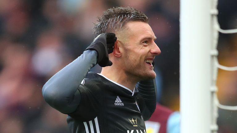 Jamie Vardy celebrates scoring for Leicester against Aston Villa