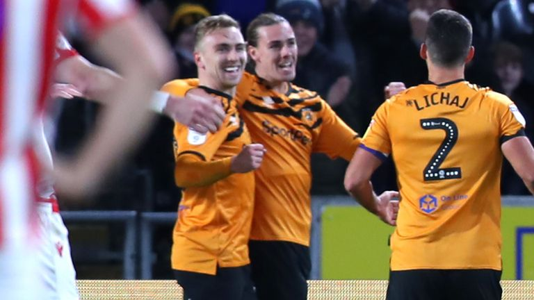 Jarrod Bowen of Hull City celebrates with team-mates after scoring against Stoke