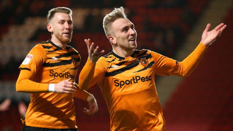Jarrod Bowen celebrates scoring for Hull against Charlton