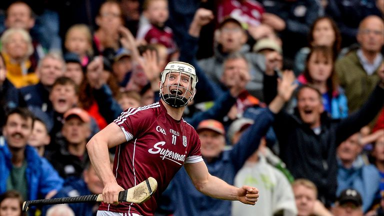 Joe Canning celebrates as he watches his late winner sail over the crossbar in the 2017 All-Ireland semi-final