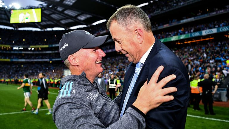 Jim Gavin and John Costello celebrate after September's All-Ireland football final replay win over Kerry