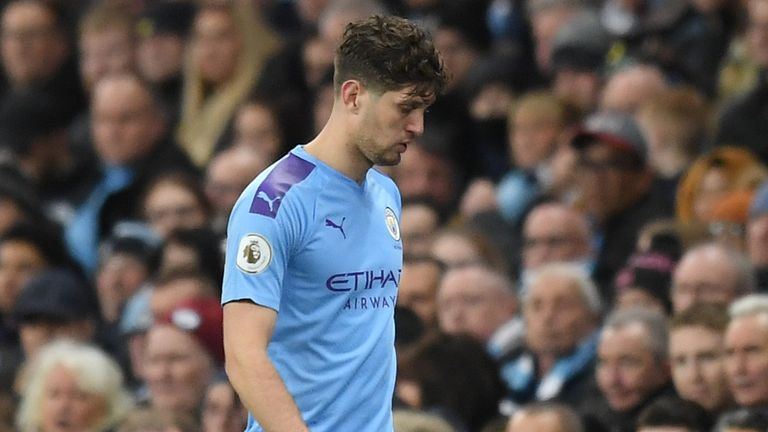John Stones of Manchester City leaves the pitch due to injury during the Premier League match between Manchester City and Manchester United at Etihad Stadium on December 07, 2019 in Manchester, United Kingdom. (P