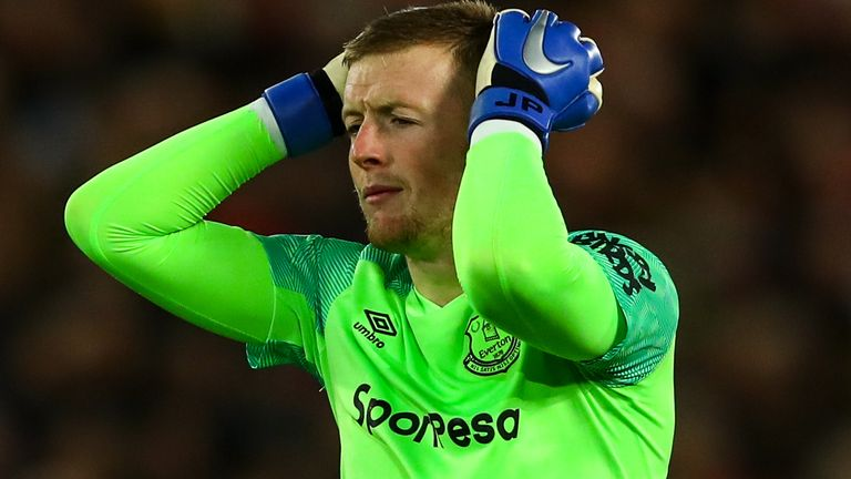 Jordan Pickford is yet to enjoy a win against Liverpool in six attempts