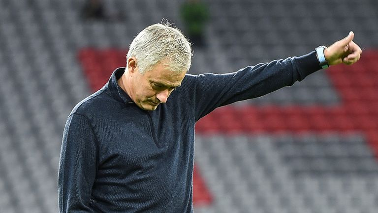 Jose Mourinho head coach of Tottenham Hotspur reacts before the UEFA Champions League group B match between Bayern Muenchen and Tottenham Hotspur at Allianz Arena on December 11, 2019 in Munich, Germany.