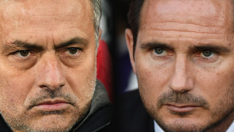 Jose Mourinho, Manager of Manchester United (L) and Derby manager Frank Lampard.