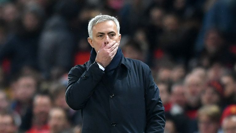 Jose Mourinho, Manager of Tottenham Hotspur reacts during the Premier League match between Manchester United and Tottenham Hotspur at Old Trafford on December 04, 2019 in Manchester, United Kingdom.