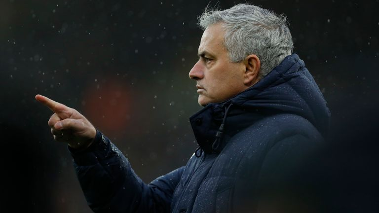 Jose Mourinho the head coach / manager of Tottenham Hotspur during the Premier League match between Wolverhampton Wanderers and Tottenham Hotspur at Molineux on December 15, 2019 in Wolverhampton, United Kingdom.