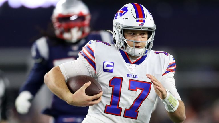 Bills quarterback Josh Allen is 268 of 456 for 3,084 yards and 20 touchdowns this year