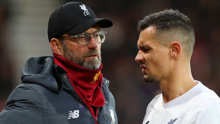 Dejan Lovren came off in the first half with an injury, but should be fit for the Champions League