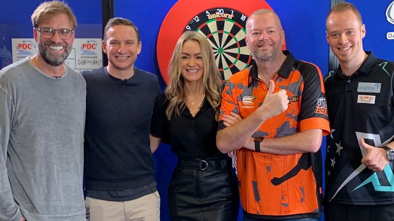 Laura Woods hosted a special darts match between Jurgen Klopp's Germany and Raymond van Barneveld's Holland