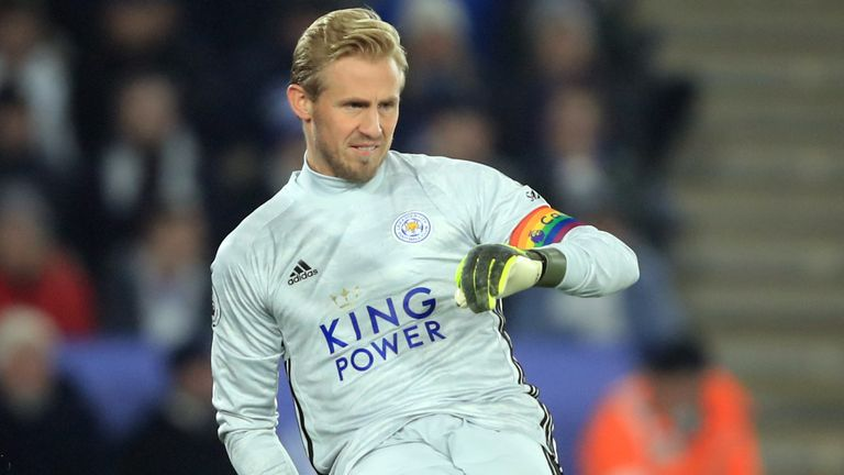 Leicester captain Kasper Schmeichel wore a rainbow armband this week