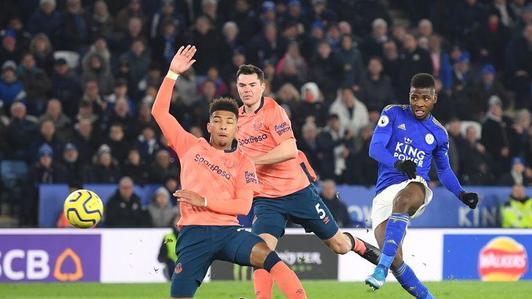 Kelechi Iheanacho of Leicester City scores his sides second goal against Everton