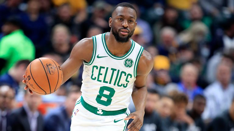 Kemba Walker of the Boston Celtics dribbles the ball during the game against the Indiana Pacers