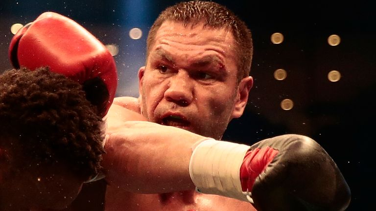 Kubrat Pulev of Bulgaria throws a punch at Dereck Chisora of Great Britain during Heavyweight European Championship at Barclaycard Arena on May 7, 2016 in Hamburg, Germany