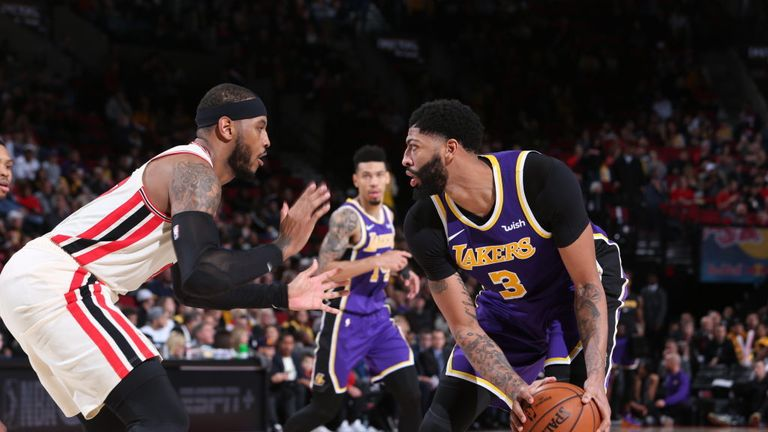 Los Angeles Lakers against Portland Trail Blazers in the NBA