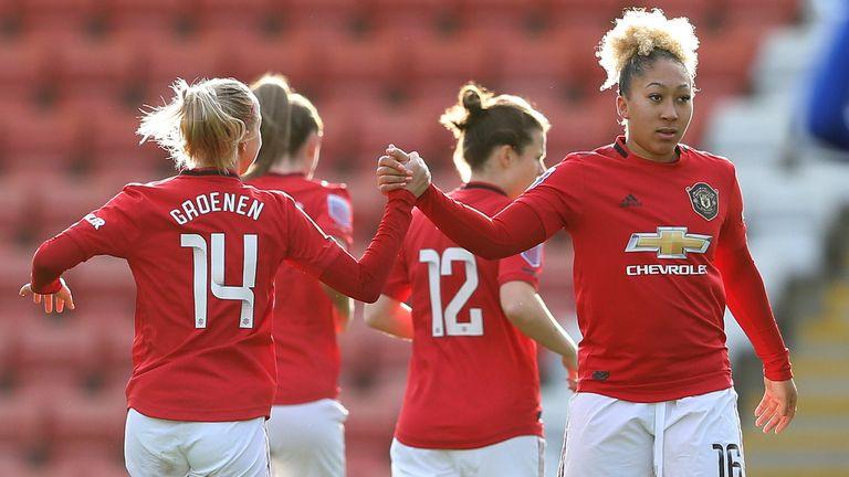 Lauren James (R) scored twice in Man Utd's win over Everton