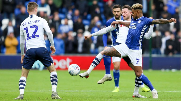 Leandro Bacuna and Paul Gallagher during the Sky Bet Championship match between Cardiff City and Preston North End at Cardiff City Stadium