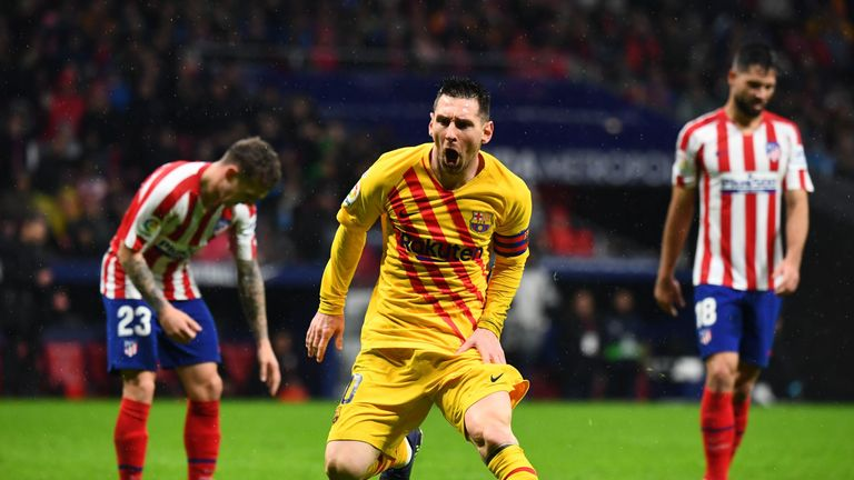Lionel Messi's late strike handed Barcelona all three points at Atletico Madrid