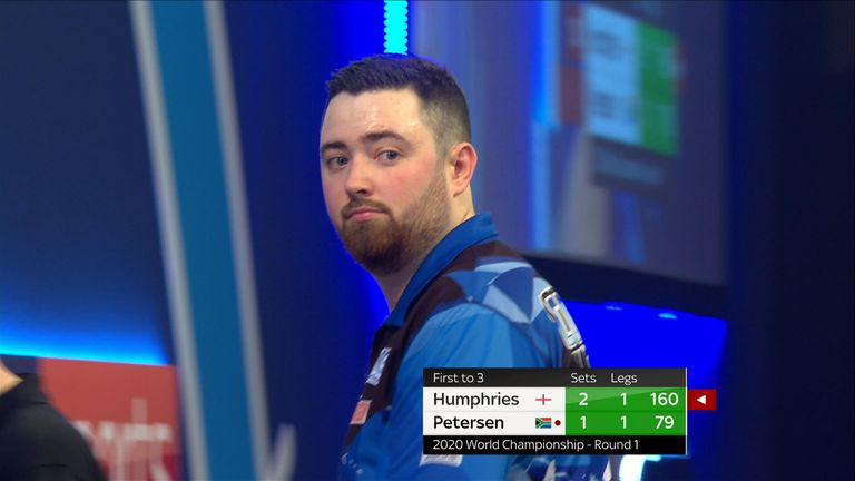 Humphries reacts after hitting a 160 checkout