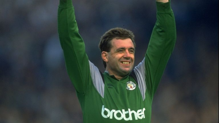 Manchester City goalkeeper Paul Cooper celebrates the 5-1 win over Manchester United in 1989