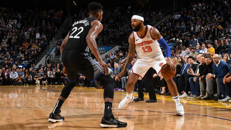Marcus Morris Sr.  of the New York Knicks handles the ball against the Golden State Warriors