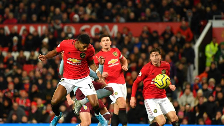Marcus Rashford's header led to Manchester United's equaliser against Aston Villa