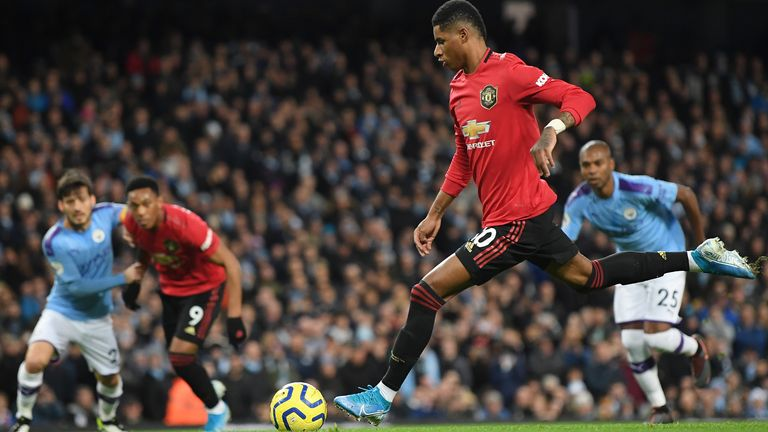 Marcus Rashford gave Manchester United the lead from the penalty spot on Saturday