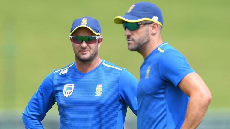 Mark Boucher, pictured alongside Faf du Plessis, was appointed South Africa head coach for the winter series against England
