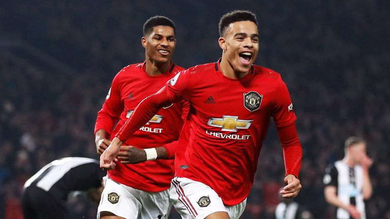 Mason Greenwood celebrates scoring his Manchester United's second goal of the game