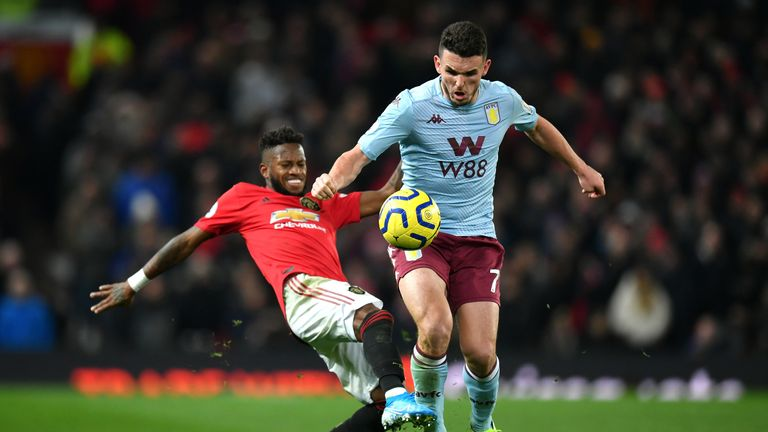 Fred of Manchester United battles for possession with John McGinn