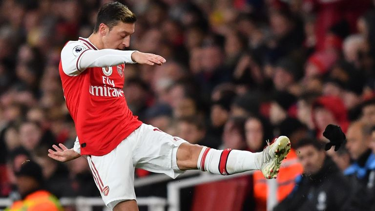 Mesut Ozil did not feature against Everton at Goodison Park