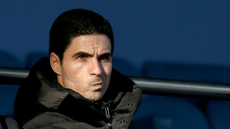 Mikel Arteta, Manger of Arsenal FC is seen in the stands prior to the Premier League match between Everton FC and Arsenal FC at Goodison Park on December 21, 2019 in Liverpool, United Kingdom.