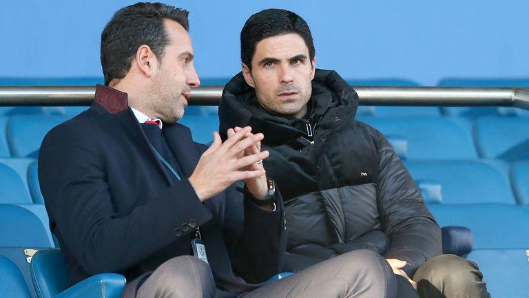 New Arsenal head coach Mikel Arteta alongside technical director Edu at Goodison Park