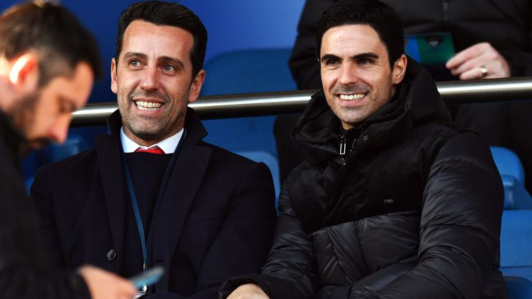 New Arsenal head coach Mikel Arteta and technical director Edu in the stands at Goodison Park