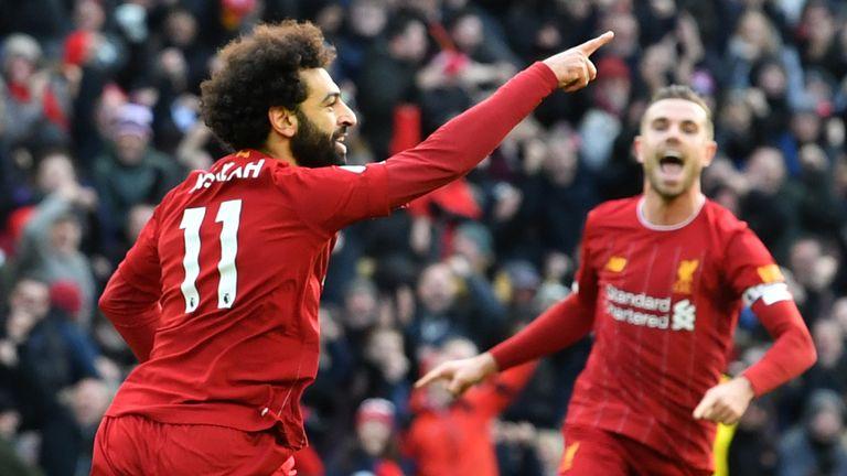 Mohamed Salah celebrates his opener