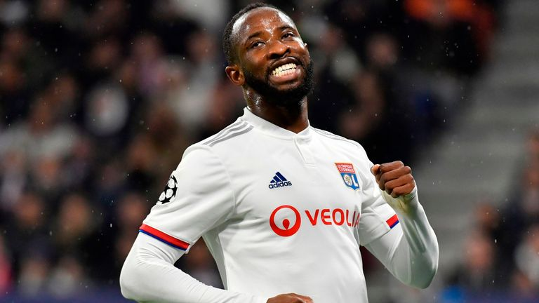 Moussa Dembele reacts during the UEFA Champions League, Group G match between Lyon and Benfica at the Decines Groupama Stadium on November 5, 2019