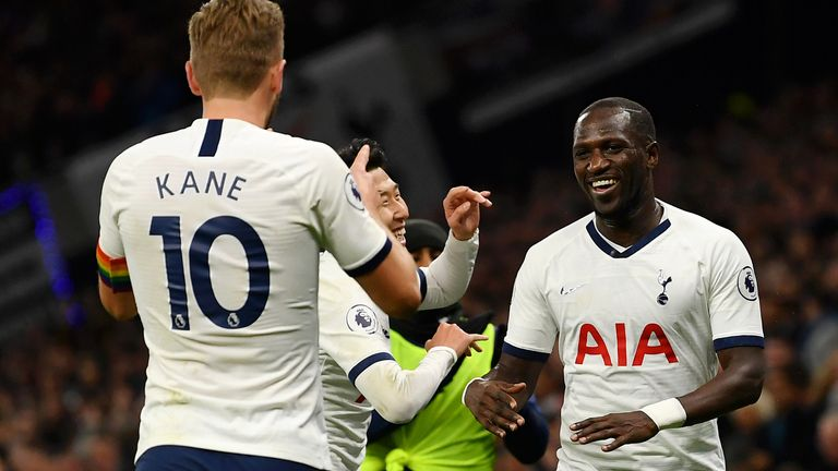 Moussa Sissoko celebrates making it 5-0 to Spurs