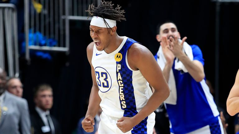 Myles Turner of the Indiana Pacers celebrates