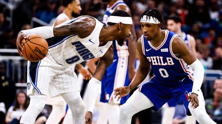 Terrence Ross of the Orlando Magic faces off with Josh Richardson of the Philadelphia 76ers in the second half at Amway Center