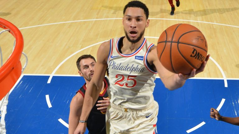 Ben Simmons rises to score against the Cleveland Cavaliers