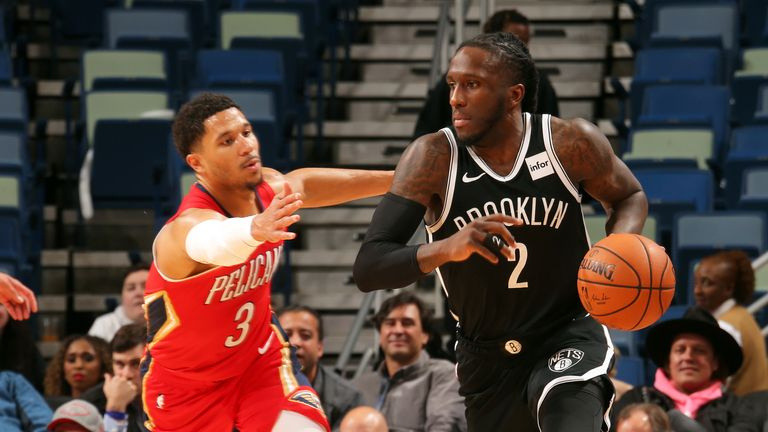 Taurean Prince of the Brooklyn Nets handles the ball