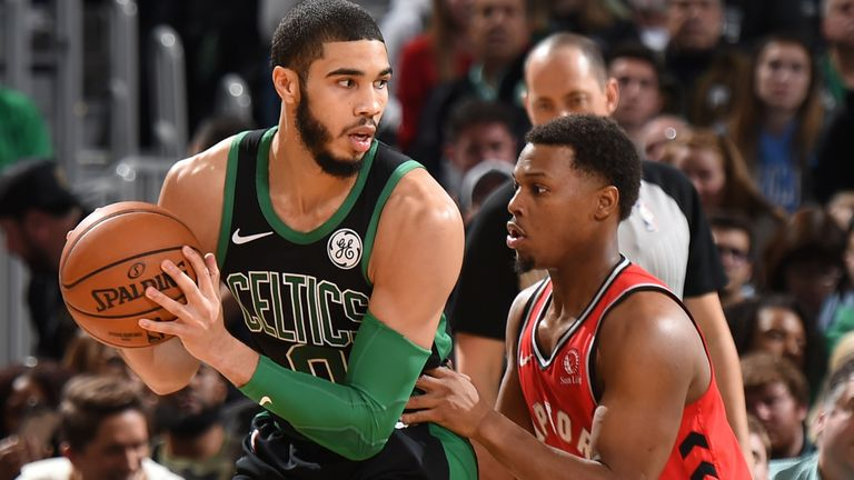 BOSTON, MA - DECEMBER 28: Jayson Tatum #0 of the Boston Celtics handles the ball against the Toronto Raptors on December 28, 2019 at the TD Garden in Boston, Massachusetts.  NOTE TO USER: User expressly acknowledges and agrees that, by downloading and or using this photograph, User is consenting to the terms and conditions of the Getty Images License Agreement. Mandatory Copyright Notice: Copyright 2019 NBAE  (Photo by Brian Babineau/NBAE via Getty Images)