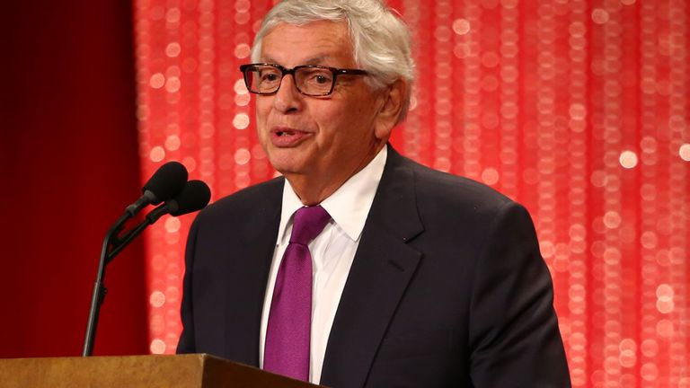 David Stern speaks during the 2014 Basketball Hall of Fame Enshrinement Ceremony on August 8, 2014 at the Mass Mutual Center in Springfield, Massachusetts.