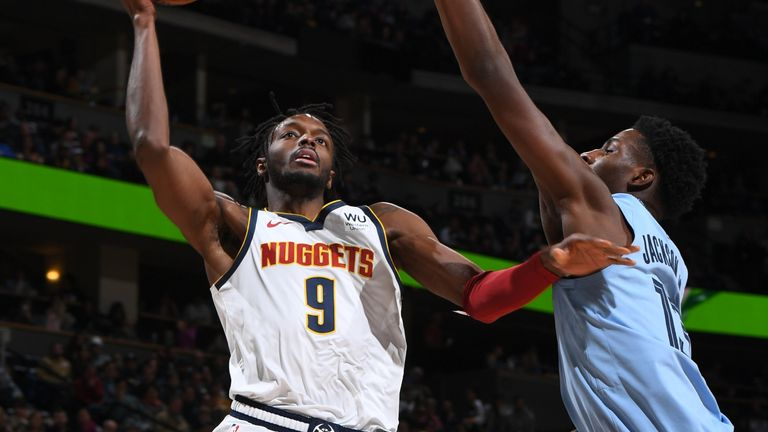 DENVER, CO - DECEMBER 28: Jerami Grant #9 of the Denver Nuggets shoots the ball against the Memphis Grizzlies on December 28, 2019 at the Pepsi Center in Denver, Colorado. NOTE TO USER: User expressly acknowledges and agrees that, by downloading and/or using this Photograph, user is consenting to the terms and conditions of the Getty Images License Agreement. Mandatory Copyright Notice: Copyright 2019 NBAE (Photo by Garrett Ellwood/NBAE via Getty Images)