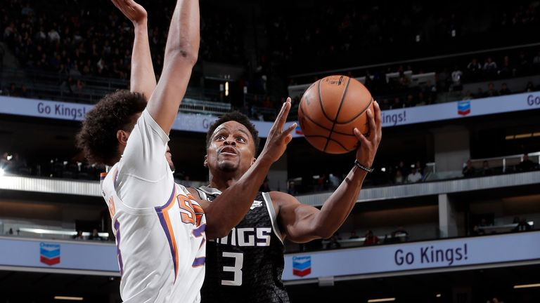 SACRAMENTO, CA - DECEMBER 28: Yogi Ferrell #3 of the Sacramento Kings drives to the basket during the game against the Phoenix Suns on December 28, 2019 at Golden 1 Center in Sacramento, California. NOTE TO USER: User expressly acknowledges and agrees that, by downloading and or using this Photograph, user is consenting to the terms and conditions of the Getty Images License Agreement. Mandatory Copyright Notice: Copyright 2019 NBAE (Photo by Rocky Widner/NBAE via Getty Images)