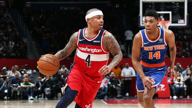 WASHINGTON, DC -.. DECEMBER 28: Isaiah Thomas #4 of the Washington Wizards handles the ball during the game against the New York Knicks on December 28, 2019 at Capital One Arena in Washington, DC. NOTE TO USER: User expressly acknowledges and agrees that, by downloading and or using this Photograph, user is consenting to the terms and conditions of the Getty Images License Agreement. Mandatory Copyright Notice: Copyright 2019 NBAE (Photo by Stephen Gosling/NBAE via Getty Images).