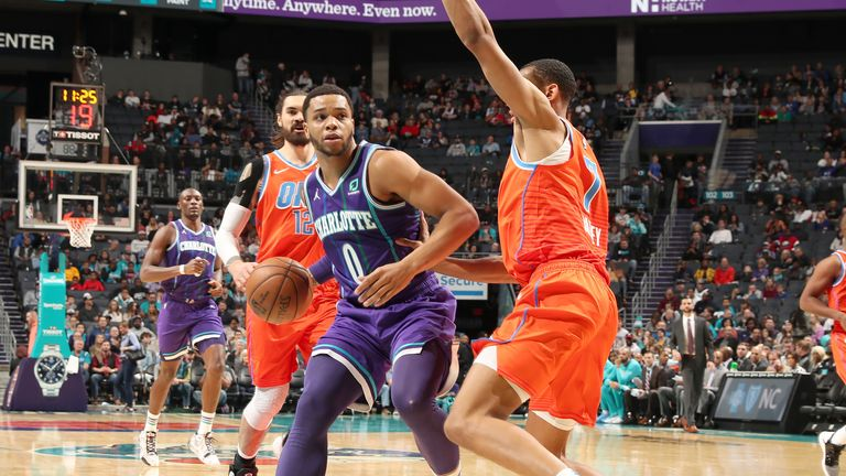 Miles Bridges of the Charlotte Hornets handles the ball against the Oklahoma City Thunder
