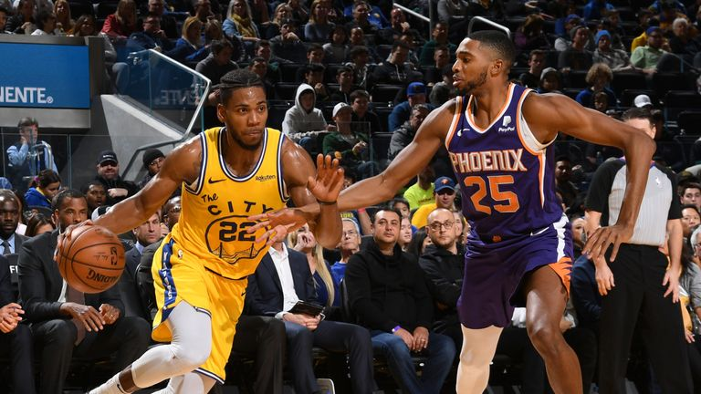 SAN FRANCISCO, CA - DECEMBER 27: Glenn Robinson III #22 of the Golden State Warriors handles the ball against the Phoenix Suns on December 27, 2019 at Chase Center in San Francisco, California. NOTE TO USER: User expressly acknowledges and agrees that, by downloading and or using this photograph, user is consenting to the terms and conditions of Getty Images License Agreement. Mandatory Copyright Notice: Copyright 2019 NBAE (Photo by Noah Graham/NBAE via Getty Images)